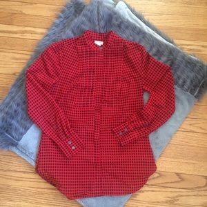 J. Crew XXS Black & Red Check Blouse